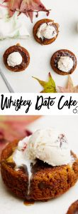 Warm whiskey sauce with cherry date cake.
