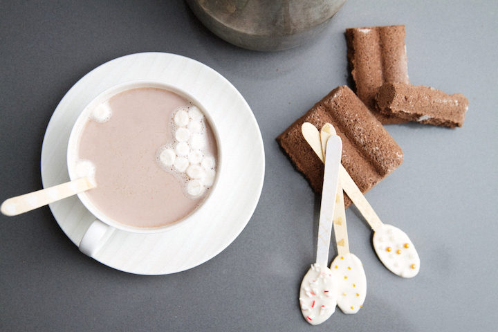 Hot Cocoa with Chocolate Dipped Spoons
