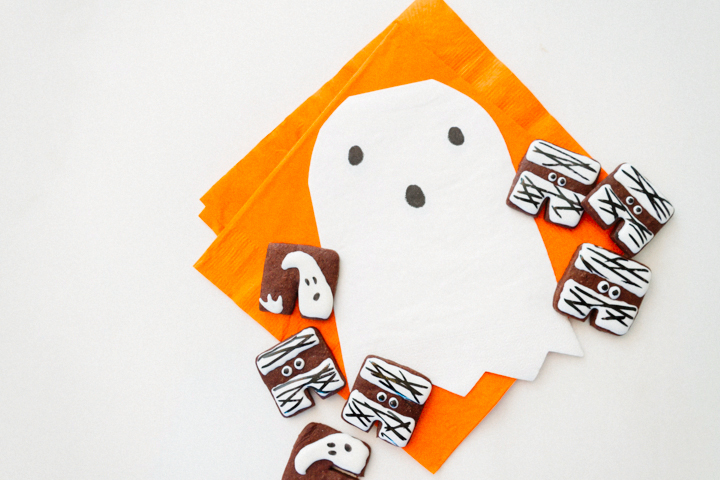 ghost and mummy cookies with ghost napkins