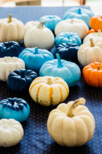 blue pumpkins for the dessert table