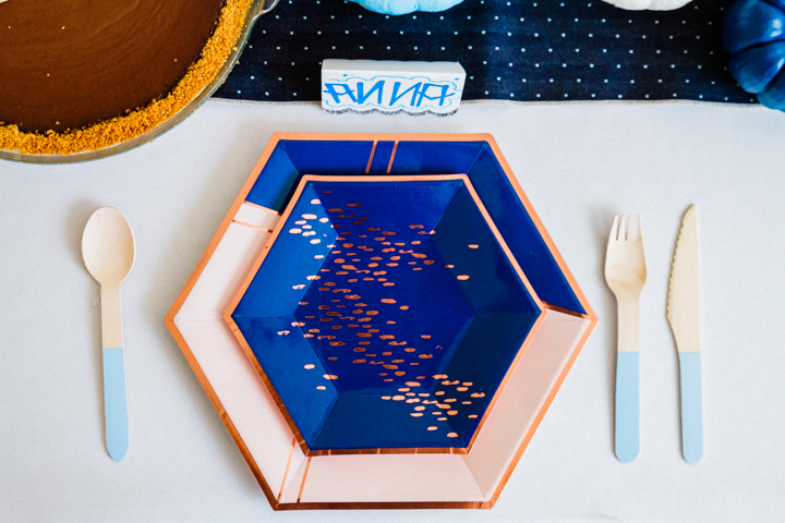 Blue place setting for Thanksgiving