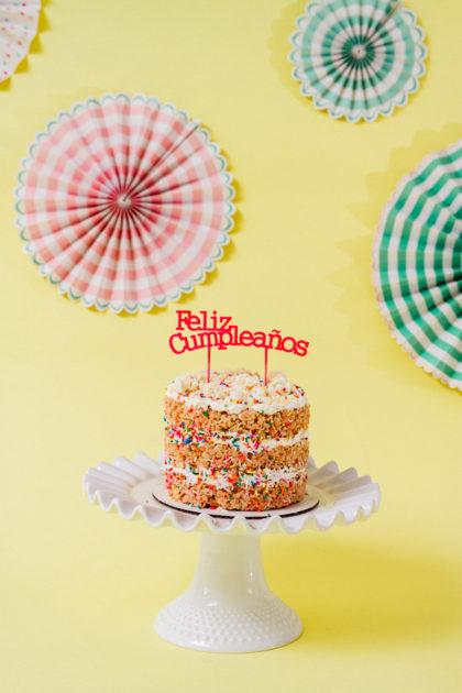 Feliz Cumpleaños with Rice Krispie Cake