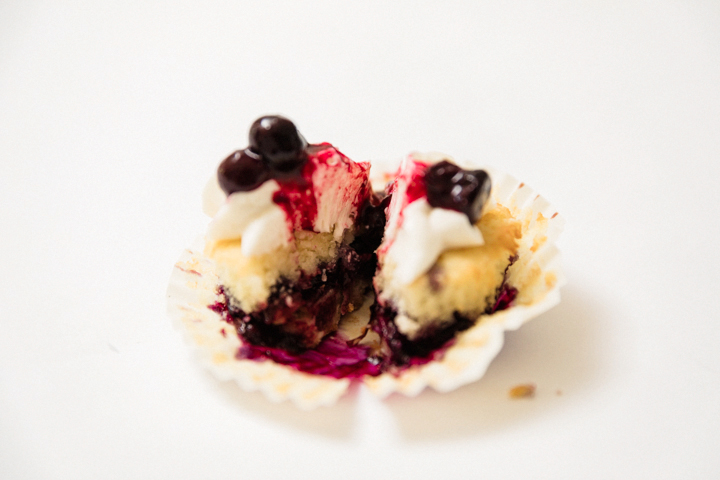 blueberry cupcake on top of crisp pie crust